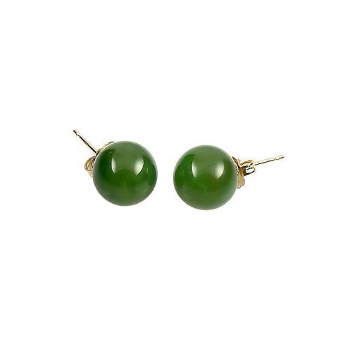 14K Yellow Gold 4mm Natural Nephrite Green Jade Ball Stud Post Earrings (Color Jade Earring)