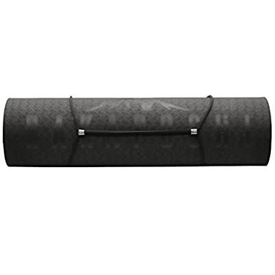 Rakaposhi 1/3-Inch Extra Thick TPE Excersize Mat for Yoga, Pilates, Sit-ups and Workouts w/ Carrying Strap ...