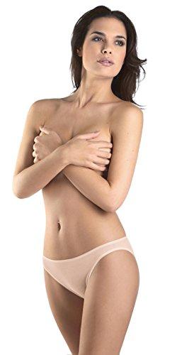 Hanro Women's Cotton Seamless Hi Cut Panty Brief Panty, Skin, x-Small