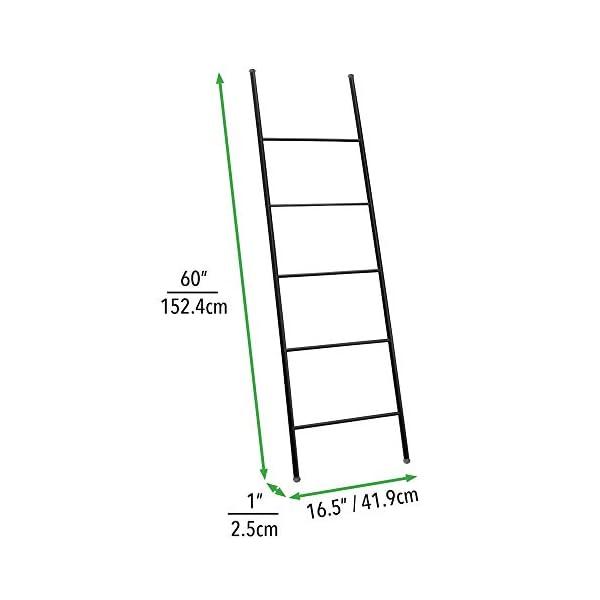 mDesign Metal Free Standing Bath Towel Blanket Ladder Storage Organization, Rack for Bathroom, Bedroom, Laundry Room…