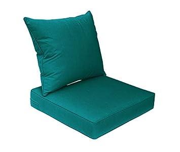 Bossima Sunbrella Indoor Outdoor Spectrum Peacock Teal Blue Deep Seat Chair Cushion Set,Spring Summer Seasonal Replacement Cushions.
