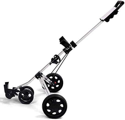HAO KEAI Golf Cart Golf Push Cart 4 Wheel Push Pull Golf Cart,Sturdy Lightweight and One Second to Open & Close Folding Golf Cart,Golf Accessories for Practice and Game Best Gift for Men