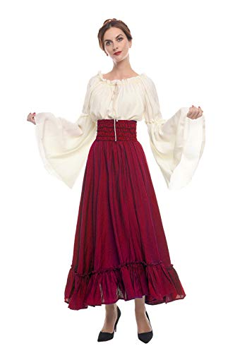 ROLECOS Renaissance Medieval Dress Victorian Peasant Retro Gown Shirt and Skirt Wine Red L]()