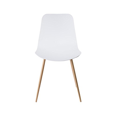 Viola Set of 4 White Dining Chairs - Mid Century Modern Style Armless Side Chairs Molded Easy Clean Plastic Shell with Wood Tone Legs by Linea di Liara LL-CH1658-WHITE by Linea di Liara (Image #4)
