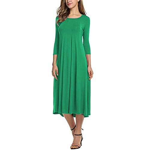 TOTOD Dress Clearance, Womens Casual 3/4 Sleeve Loose Dresses -Ladies Evening Long Maxi Dress Multi-Color Multi-Code