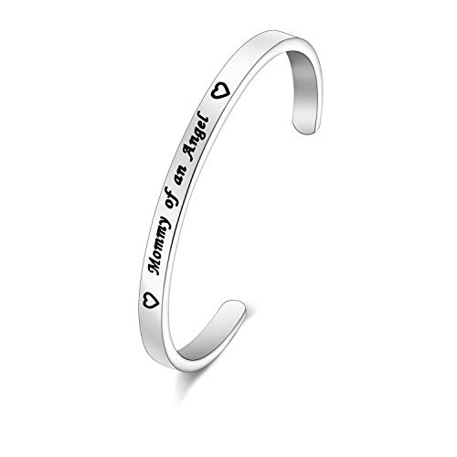 MYOSPARK Mommy of an Angel Baby Feet Cuff Bangle Bracele Baby Memorial Jewelry Miscarriage Sympathy Gift for Infant Child Baby Loss Pregnancy Loss (Mommy Angel Cuff -
