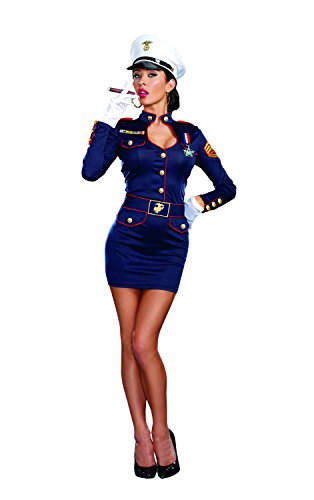 Dreamgirl Women's Take Charge Marge Military Captain Costume, Blue, Medium