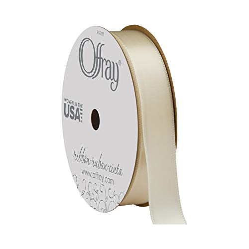 Offray Double Face Satin Craft Ribbon, 5/8-Inch x 18-Feet, Ivory ()