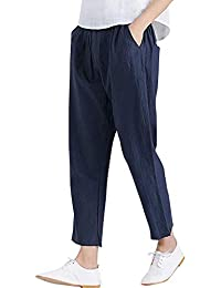 Women's Cotton Linen Tapered Cropped Pants Elastic Waist Trousers Long Pants Paper Bag Pants with Pockets LIM&Shop Navy