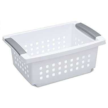 Sterilite 16628006 Medium White Stacking Basket with Titanium Accents, 6-Pack