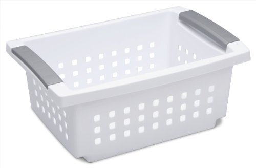 Sterilite 16608006 Small Stacking Basket, White Basket w/ Titanium Accents, 6-Pack