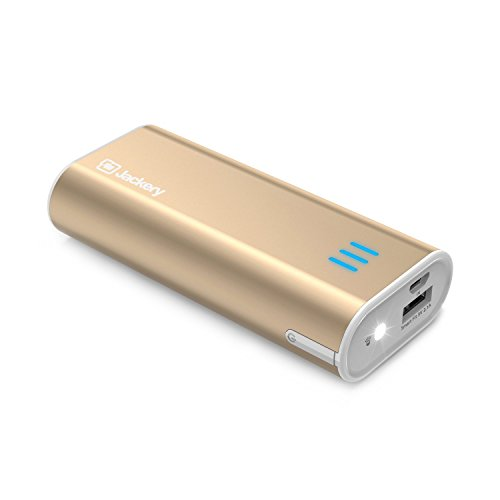 Jackery Bar Premium 6000 mAh External Battery Charger - Portable Charger and Power Bank with Panasonic Battery Cells and Aluminum Shell for iPhone 7, 7 Plus, iPad, Galaxy & Other Smart Devices (Gold)