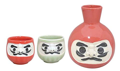 Japanese Happy Daruma Mino ware Sake Set,11.5oz.1 bottle and 2 cups set.