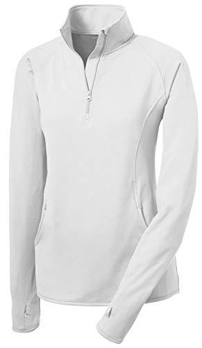 Joe's USA Ladies Moisture Wicking Stretch 1/2-Zip Pullover Sweatshirt- M -