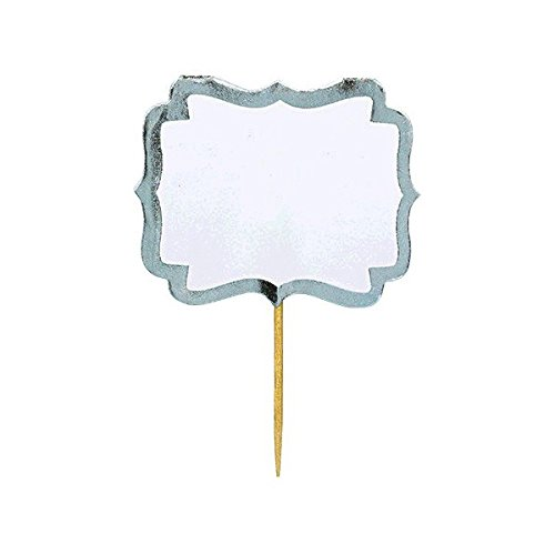 (amscan Party Fun Classic Label Picks, 24 Pieces, Made from Paper, White w/Silver Border, 2 1/4 x 3 1/2 by)