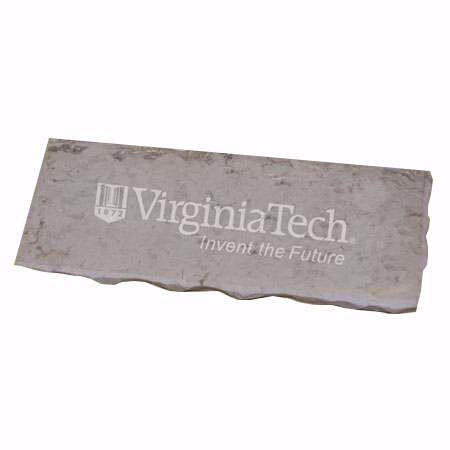 Hokie Stone Desk Plate - Own A Piece of Your Alma Mater! WE ARE THE ONLY AUTHORIZED SELLER OF 100% AUTHENTIC HOKIE STONE! Officially Licensed. (Shield w/ 'Invent the Future')