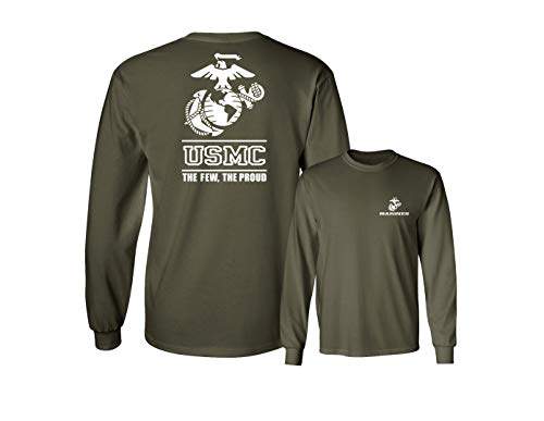 - Lucky Ride Marines USMC The Few The Proud White Emblem F&B Long Sleeve Tee,Military Green,S