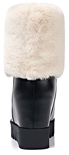 IDIFU Womens Trendy Fluffy Fur Round Toe Pull On High Wedge Heels Inside Ankle High Snow Boots Black r8AASnMl