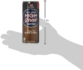 High Brew Cold Brew Coffee, Black & Bold, Dairy Free, 8 Ounce Can (12 Count)