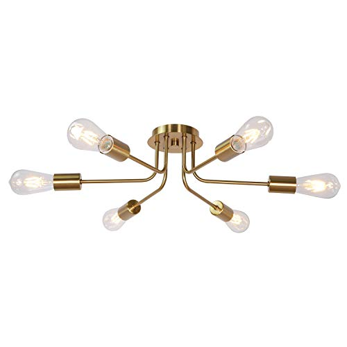 TULUCE Mid Century Modern Ceiling Lighting Industrial Semi Flush Mount Light Fixture Brushed Brass 6 Light Sputnik Chandelier for Kitchen Dining Room Bedroom Living Room Foyer
