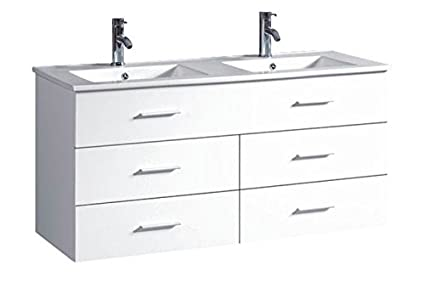 Belvedere Designs T9126A Modern Floating Double Bathroom Vanity, 48u0026quot;,  White