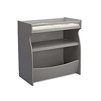 Image of Baby Delta Children 2-in-1 Changing Table and Storage Unit with Changing Pad, Grey