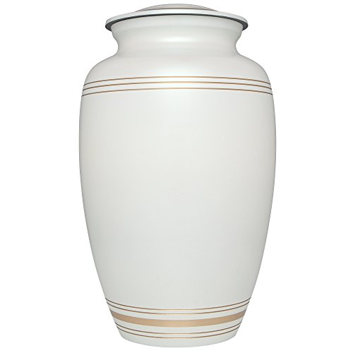 (White Funeral Urn by Liliane Memorials - Cremation Urn for Human Ashes - Hand Made in Brass - Suitable for Cemetery Burial or Niche - Fits Remains of Adults up to 200 lbs - Classic Model)