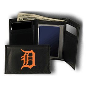 MLB Detroit Tigers Embroidered Genuine Cowhide Leather Trifold Wallet