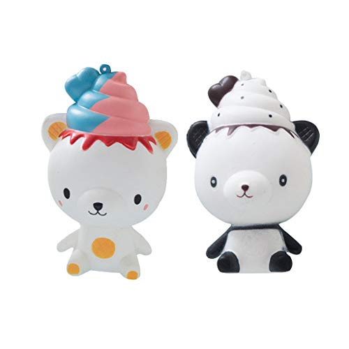 Dianli Pack of 2, Exquisite Lovely Q Poo Panda Scented Squishies Charm Slow Rising 14cm Simulation Anti Stress Baby Baths Bathing Squishy Toys -