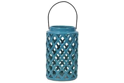 Urban Trends 40408-UT Decorative Ceramic Lantern, Turquoise