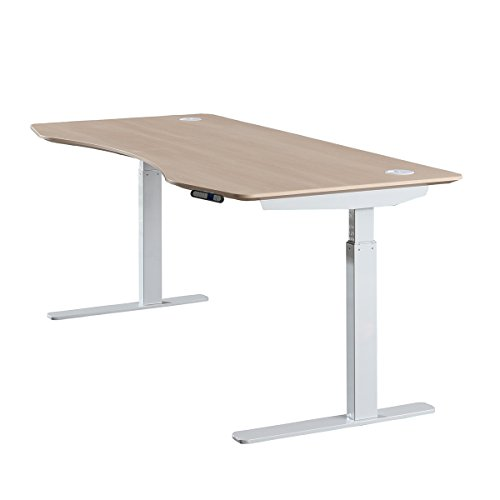 ApexDesk Elite Series 60'' W Electric Height Adjustable Standing Desk (Memory Controller, 60'' Top in Light Oak, Off-White Frame) by ApexDesk