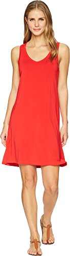 Tribal Women's Solid Jersey Strappy Back Sleeveless Dress Scarlet Large