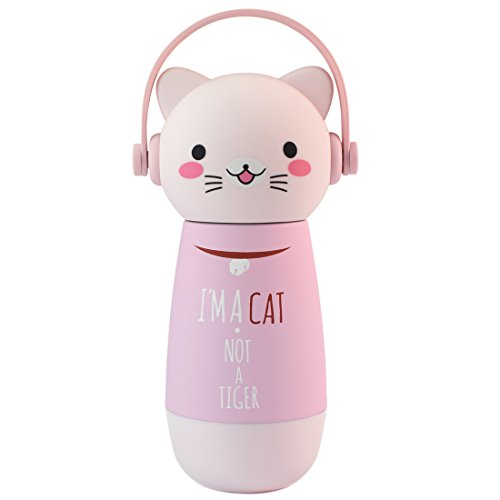 ZIIYAN Portable Stainless Steel Coffee Thermos Cute Cat Travel Mug Drinkware Water Bottle for Kids& Adults, 9oz, Pink