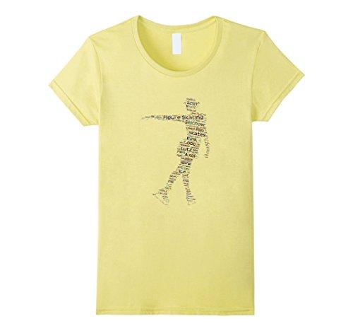 Women's Figure Skating Word Cloud Art T Shirt for Ice Skaters Medium Lemon