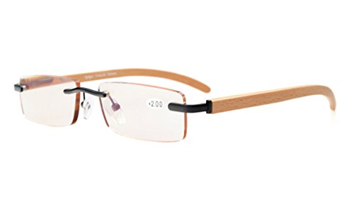 Eyekepper Computer Small Lens Rimless for Men And Women In Wood Temple Arms And Spring Hinges Reading Glasses Black +2.5 (Rimless Eyeglasses Temples)
