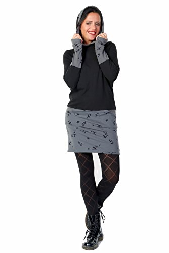 cappuccio casual con 3Elfen Uccello donna Grigio vestito pile qxUtwgC