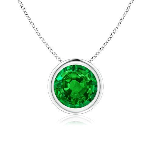Bezel Set Created Emerald Pendant Necklace in