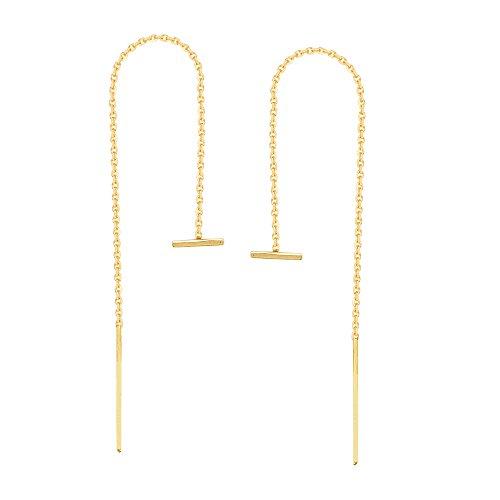 14K Yellow Gold Sideways Bar Threader Earring 14k Yellow Gold Threader Earrings
