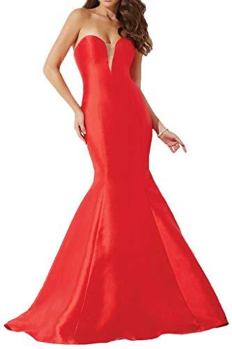 Einfach La Meerjungfrau Abendkleider TAFT Promkleider Braut Lang Rot mia Partykleider Rock Herzausschnitt EpwnCq7Sw