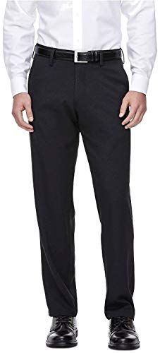 Haggar H26 - Men's Straight Fit Performance Pant Black Pinstripe (38W x 34L)
