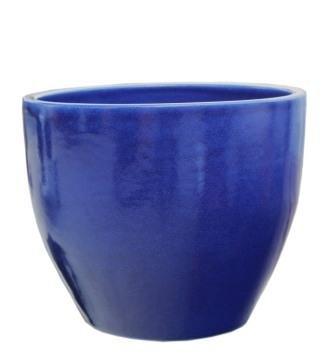 Großer Pflanztopf Pflanzkübel frostsicher rund Ø 45 x 36 cm, Farbe effekt blau, Form 122.045.64 Blumenkübel für Draußen und Innen - Qualität von Hentschke Keramik