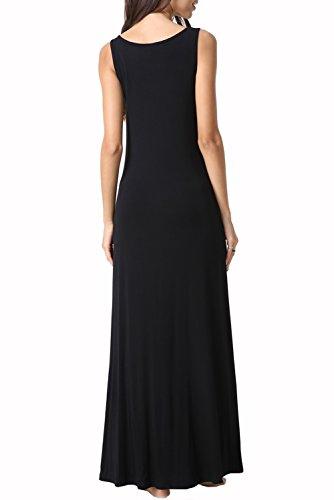 Womens Loose Pocket Casual Swing Maxi Beach Sleeveless Zattcas Black Tank Summer Dress Dress Long wpaWdqWYf