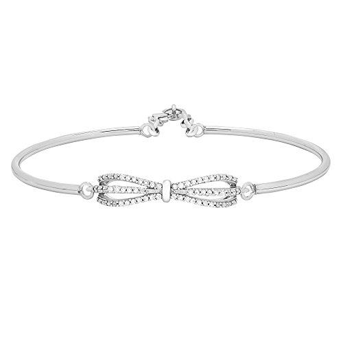 1/5 CTTW Diamond (IJ/I2I3) Bow Bangle Bracelet Crafted in Sterling Silver (Diamond Bow Bangle Bracelet)