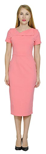 Marycrafts Women's Office Business Short Sleeve Pencil Midi Dress 12 Coral Pink