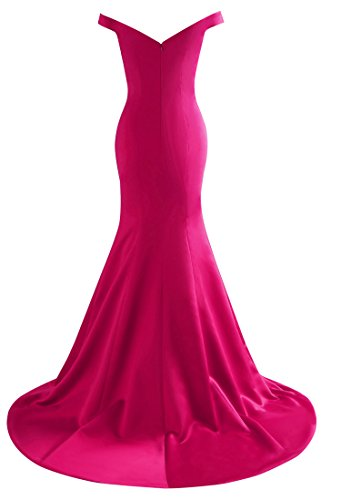 Yinyyinhs Doubles Robes De Bal V Cou Des Femmes Au Large Des Robes De Soirée Sirène Épaule Rose Rouge