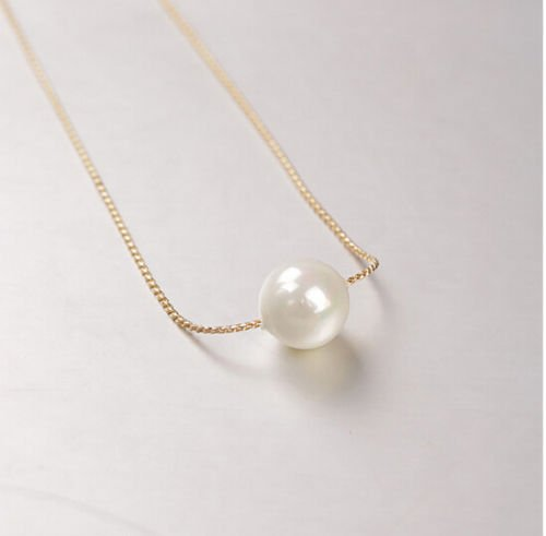Elegant Single Pearls Gold Chain Necklace