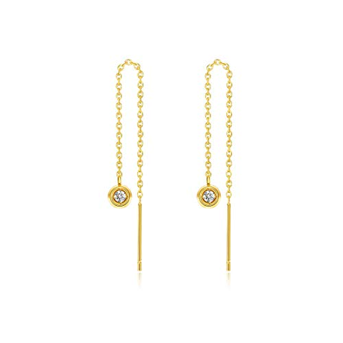 "Carleen 18k Solid Yellow Gold Chain 0.03ct Diamond Drop Dangle Fancy Dainty Threader Earrings for Women Girls, Length 72mm/3"""