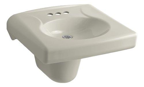 Vitreous China Shroud - KOHLER K-1999-4N-G9 Brenham Wall-Mount Bathroom Sink and Shroud with 4