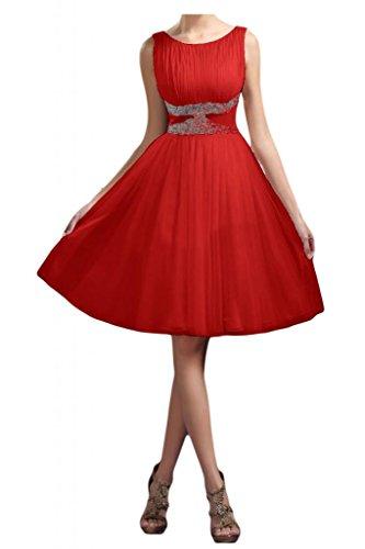 Toskana novia Ornamentales lich redondo Cuello Rodillera larga noche para ropa Corto tuell dama de honor Cocktail Party Rojo