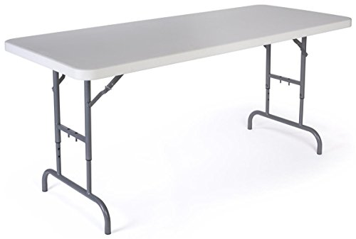 Displays2go Adjustable Height Folding Table, 6-Feet, White by Displays2go